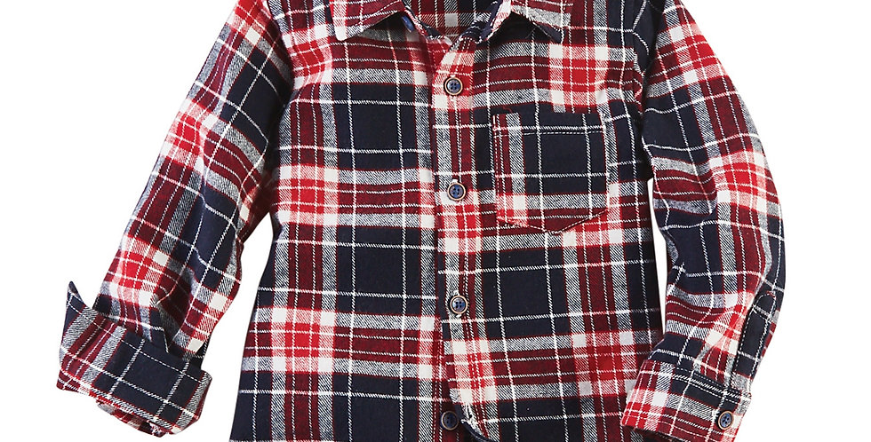 Long Sleeve Red Flannel Button Down