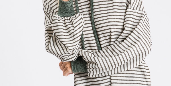 Olive Stripe Lightweight Tunic Hoodie