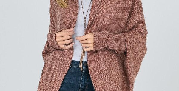 Waffle Texture Knit Long Sleeve Cardigan