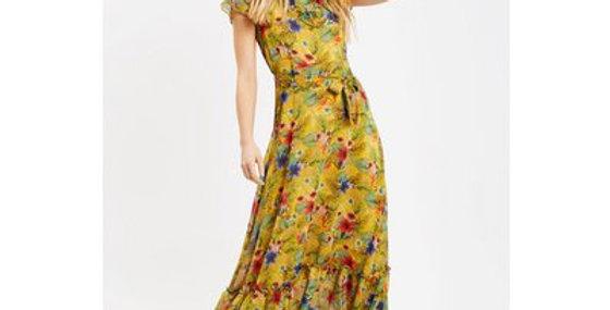 Traffic People Mustard Floral Maxi Dress