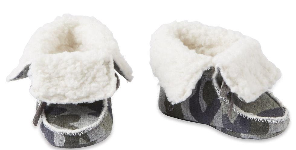 Camo Print Sherpa Baby Booties