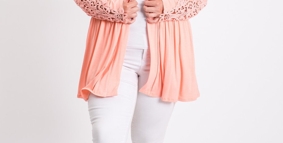 Peach Cardigan with Lace Sleeve