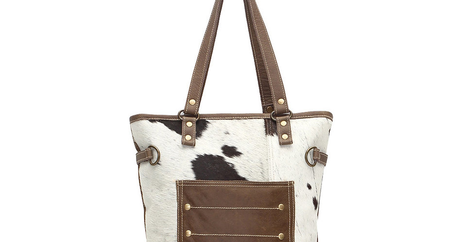 Combined Leather & Hairon Tote Bag