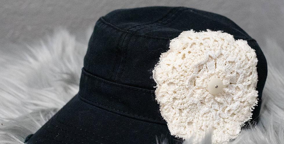 "Black Vintage ""Military"" Style Hat"