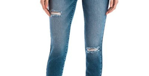 High Rise Hem Detail Ankle Skinny