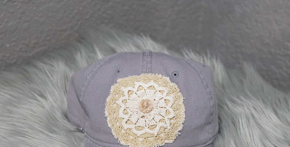 "Light Gray Vintage ""Baseball"" Style Hat"