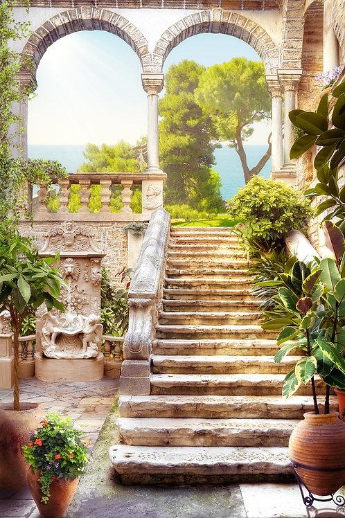 """Фотообои или фреска """"Лестница с аркой"""""""