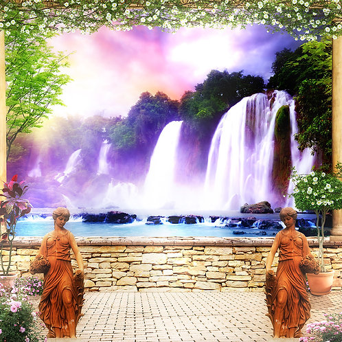 Фотообои или фреска - Терраса с водопадом
