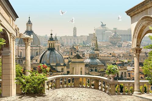 Фотообои или фреска - Балкон с видом на город