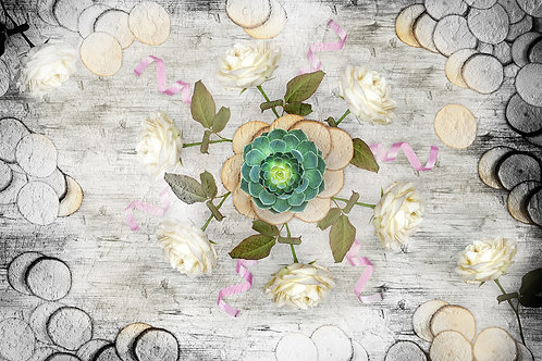 3d фотообои - Фактура дерева с розами
