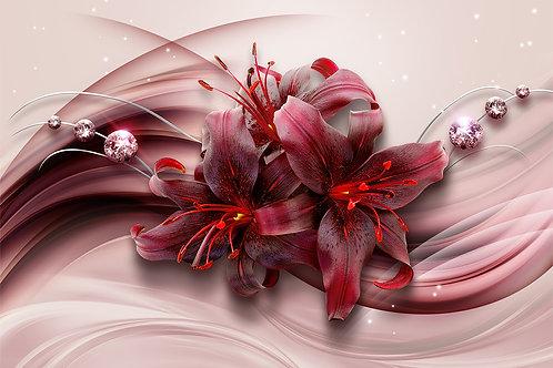 3d фотообои - Красные лилии