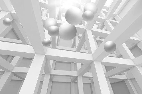 3d фотообои на стену - Геометрия с шарами