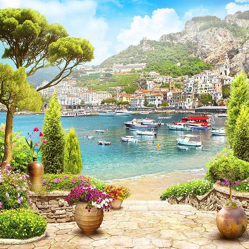 Фотообои или фреска - Греческий городок