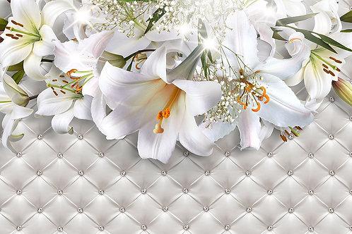 3d фотообои с белыми лилиями