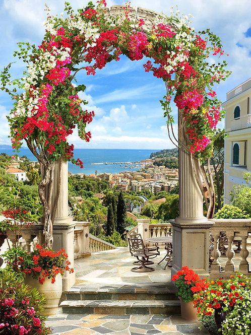 """Фотообои или фреска """"Цветочная арка на балконе"""""""