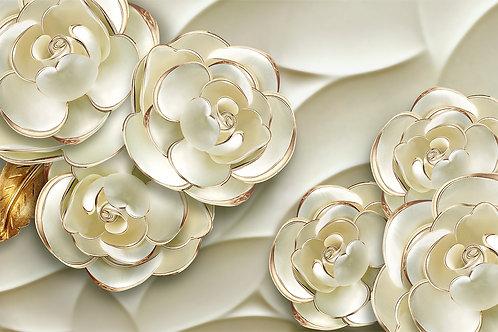 3d фотообои  - Золотые цветы