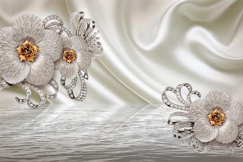 3д фотообои - Серебрянные цветы