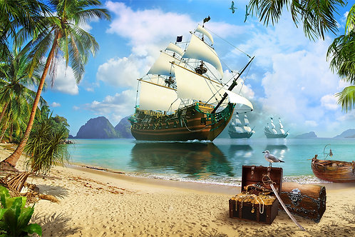 Детская фреска - Пиратский корабль