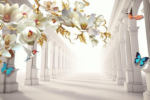 3d фотообои на стену - Тоннель с цветами
