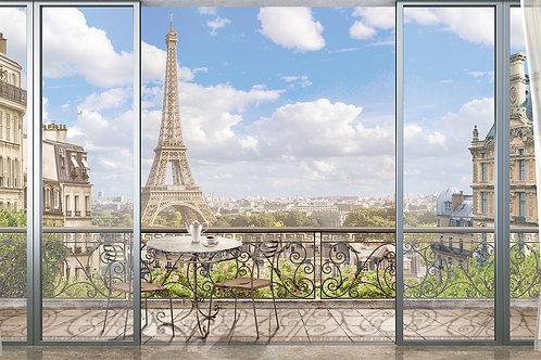 """Фотообои или фреска """"Выход на балкон в Париже"""""""