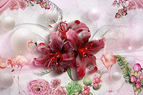 Дизайнерские фотообои с фламинго