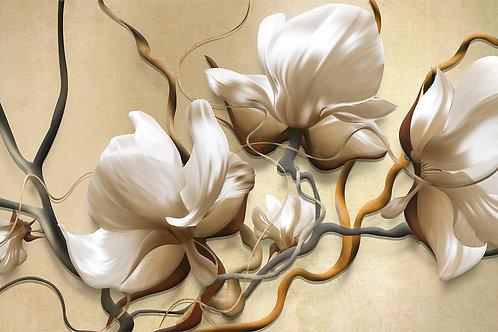 3d фотообои - Белые цветы на бежевом