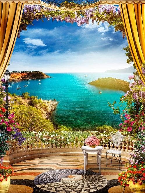 """Фотообои или фреска """"Балкончик над морем"""""""