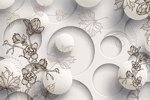 Фотообои - Веточки с кругами