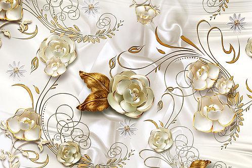 3d фотообои на стену - Золотые цветы на светлом фоне