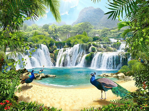 Фотообои или фреска - Павлины у водопада