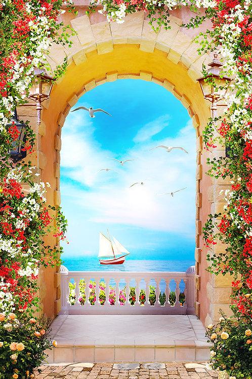 Фотообои или фреска - Арка с видом на море