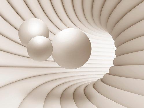 3d фотообои на стену - Тоннель и шар