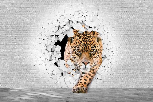3d фотообои - Леопард из стены