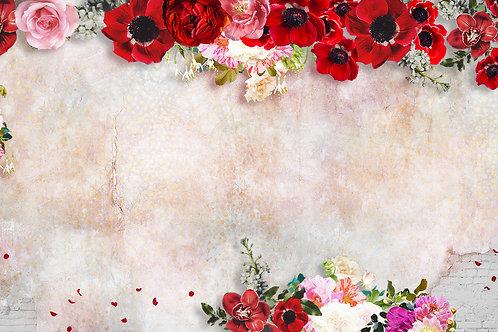 Дизайнерские фотообои - Маки на винтажной стене
