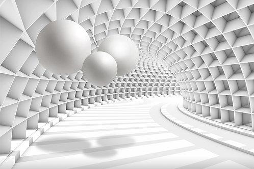 3d фотообои - Тоннель с шарами