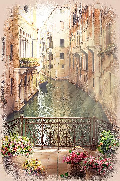 Фотообои или фреска - Вид с мостика в Венеции