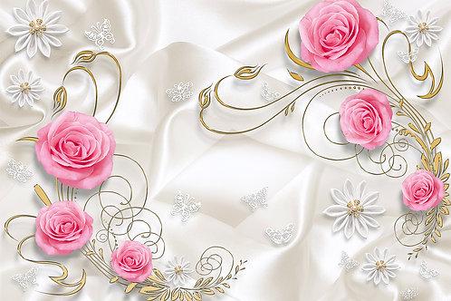 3d фотообои - Розы на шелке