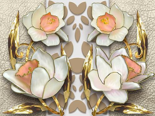 3d фотообои на стену - Цветы