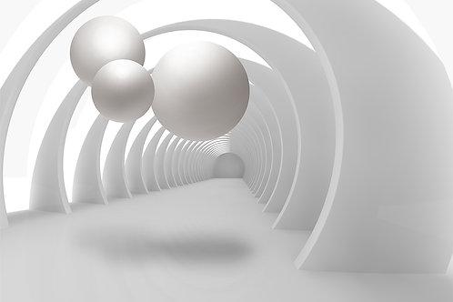 3d фотообои на стену - Тоннель и шары