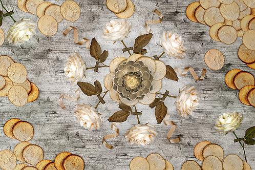 3d фотообои - Фактура дерева и розы
