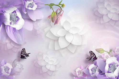 3d фотообои - Фантазия с цветами лиловых тонах