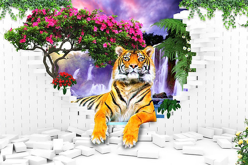 3d фотообои - Тигр из стены