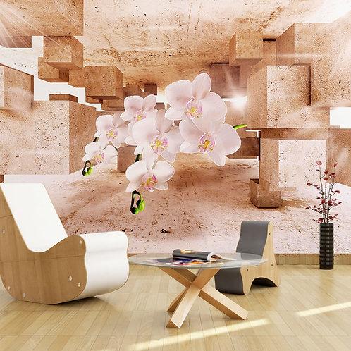 3д фотообои - Орхидея и кубы