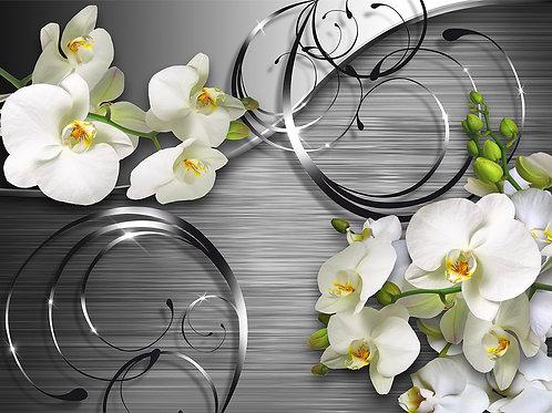 3d фотообои - Серебро и орхидеи