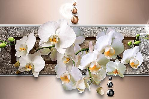 3d фотообои - Картина с белыми орхидеями
