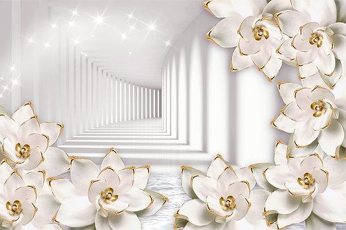 3d фотообои - Туннель и белые цветы