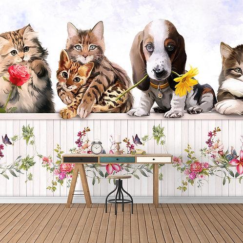 Детские фотообои - Собачки и котики