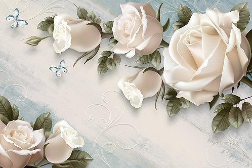 3d фотообои с белыми розами