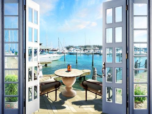 """Фотообои или фреска """"Балкон на пристани"""""""