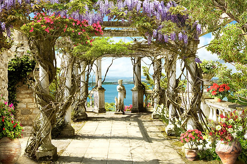 Фотообои или фреска - Пергола в цветах